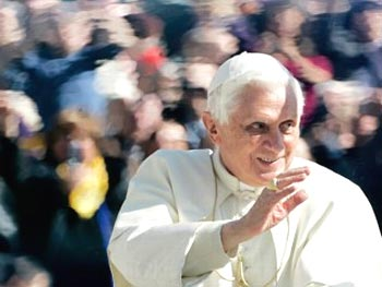 Pope Benedict XVI waves to faithful during the weekly general audience in St. Peter's square at the Vatican, March 11, 2009. Pope Benedict XVI has acknowledged Vatican mistakes in the handling of the controversy over a Holocaust-denying bishop and says he's saddened by attacks against him by even members of his own flock