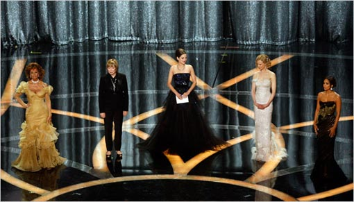 Sophia Loren, left, Shirley McLain, Marion Cotillard, Nicole Kidman and Halle Berry presented the best actress award, which went to Kate Winslet for The Reader