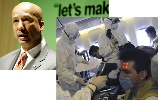 Left: Ray Nagin, the mayor of the U.S. city of New Orleans; Right: Chinese health workers in protective outfits examine passengers onboard an AeroMexico flight AM 98 that landed at Pudong international airport in Shanghai from Mexico Thursday, April 30, 2009