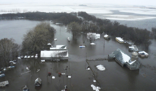 Red River flooded the Fargo area; photo taken from US Coast Guard rescue helicopter