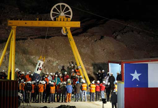 capsule carrying rescued Chilean miner in San Jose