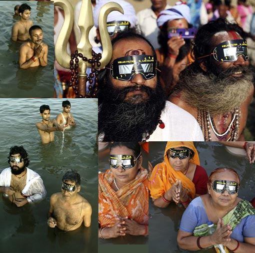 Top right: Sadhu, or Hindu holy man, watches solar eclipse through specially-designed viewing glasses in Allahabad; Left: Hindu devotees take holy dips in the Sangam, confluence of Rivers Ganges, Yamuna and mythical Sarawati; Bottom right: Hindu devotees observe solar eclipse as they take holy dips in the Sangam