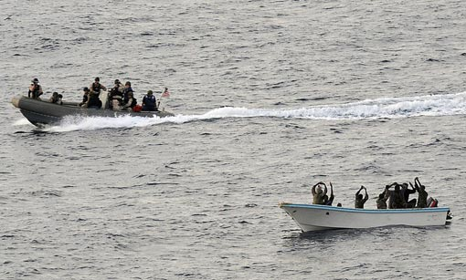 guided-missile cruiser USS Vella Gulf to apprehend suspected pirates in the Gulf of Aden