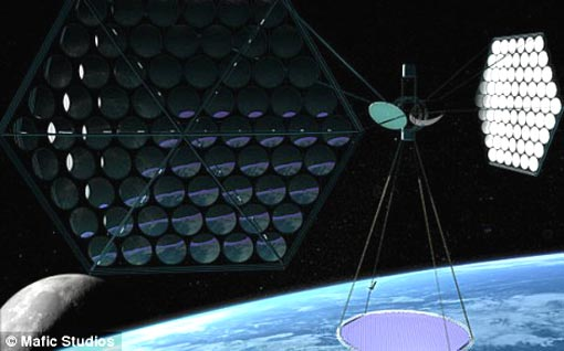 an artist's impression of the planned solar array which will be launched into space on a rocket and will transmit solar power back to Earth in radio waves