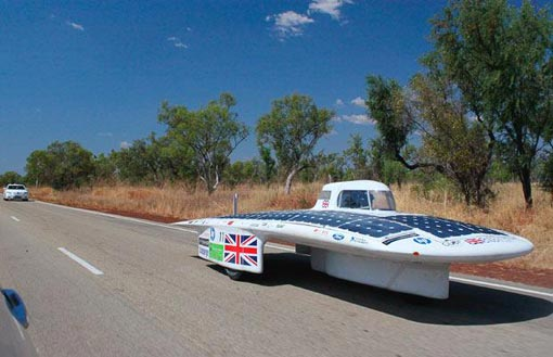 Cambridge University Eco Racing's Endeavour travels south along the Stuart Highway near the town of Katherine, about 320 kilometres (200 miles) southeast of Darwin