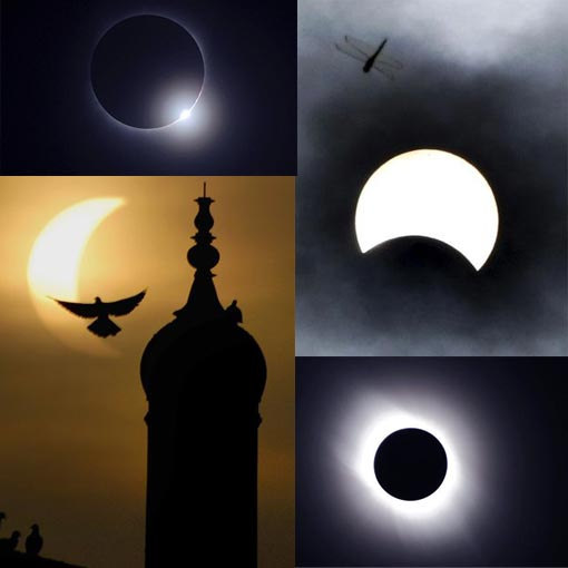 Top left: moon passes between sun & earth during solar eclipse as seen in Changsha, Hunan province, China; Bottom left: partial solar eclipse silhouettes birds surrounding minaret of shrine of Sufi Saint Bah-ud-din Zakria in Multan, Pakistan; Top right: dragonfly flies in sky during total solar eclipse in Seoul. South Korea; Bottom right: National Astronomical Observatory of Japan has seen what scientists say is the longest solar eclipse of the 21st century taken from the national observatory on Iojima island, Japan