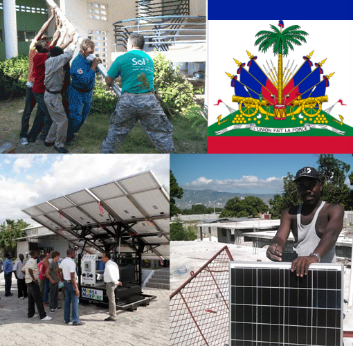 Sol, Inc & local Haiti team erect solar powered light. The quake cut electricity to most of Haiti's capital.