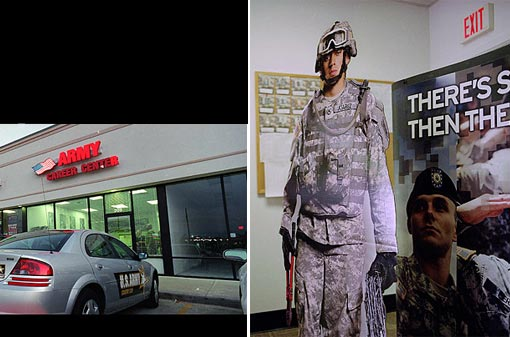 In the summer of 2008, Amanda's boss at the Nagadoches recruiting station (above), Staff Sgt. Larry Flores, committed suicide, an event which she believes