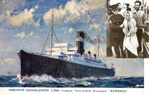 The Donaldson Liner Athenia, on charter to Cunard, had already left Glasgow on the 1st September and was heading for Montreal with 1100 passengers, more than 300 of which were American