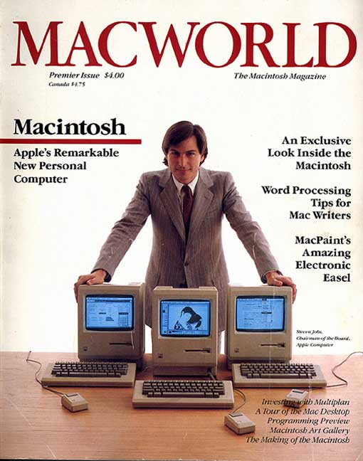 Steve Jobs on Macworld cover in 1984.