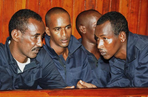 suspected Somali pirates at Mombasa Law courts in Kenya