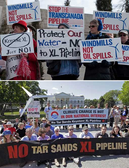Protesters outside the White House in Washington against TransCanada's proposed oil pipeline from Canada to the U.S. Gulf Coast. The 1,700-mile Keystone XL pipeline would take oil extracted from tar sands in Alberta, Canada, and carry it through a pipeline cutting across Montana, South Dakota, Nebraska, Kansas, Oklahoma and Texas to refineries in Houston and Port Arthur, Texas.