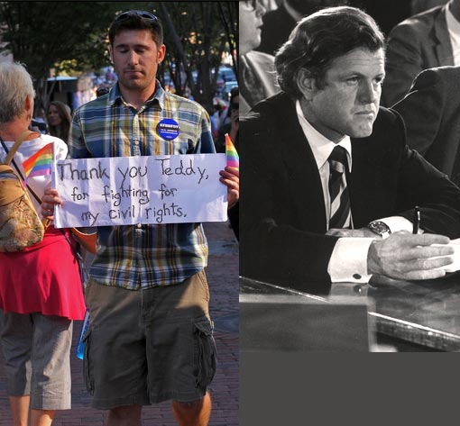 Chris Mason, of Cambridge, Mass., carries his hand written sentiments along the procession route, 'Thank you, Teddy, for fighting for my civil rights.' Bostonians lined up along the route to pay their respects to their senator & his family; Inset: Ted Kennedy, the 'Lion of the Senate,' died on Aug 25, 2009 at 77