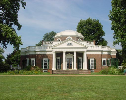 After graduation Thomas Jefferson pursued law, and in his 20s began building his home Monticello - Italian for 'little mountain' - in Charlottesville, Va., in the Palladian style he'd adopted from the French
