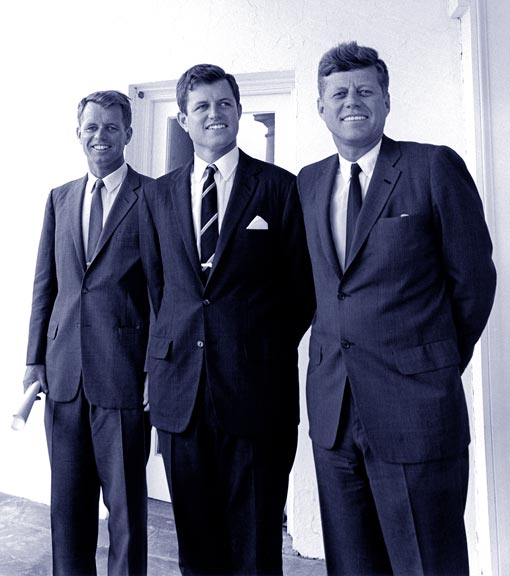 three brothers: Robert 'Bobby' Kennedy, Ted Kennedy, and John F. Kennedy (JFK)