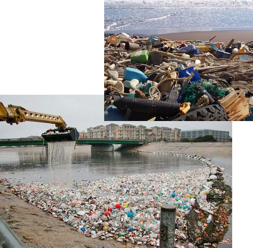 Top: Separated from the rest of the island by high cliffs, the beach at Kanapou Bay, Hawaii,collects debris from throughout the Pacific. Kanapou Bay is located on the small island of Kaho'olawe offshore of Maui. Bottom: Photo taken in Los Angeles, CA.