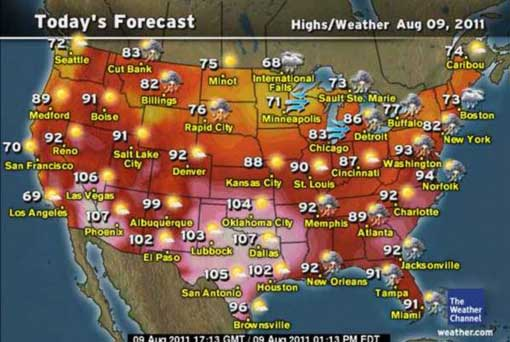 record heatwave in US: summer 2011