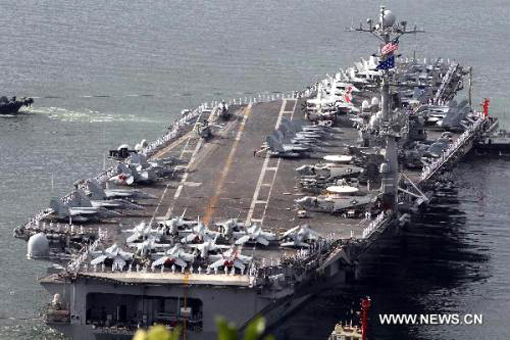 U.S. nuclear-powered aircraft carrier leaves for joint naval and air drills with South Korea