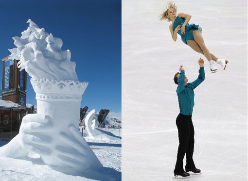 Left: Whistler ice sculpture of Olympic torch. Right: Anabellee Langlois & Cody Hay of Canada compete in figure skating program of Vancouver 2010 Winter Olympics.