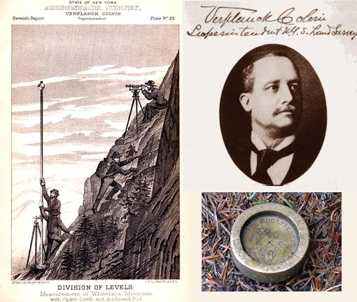 Superintendent of New York State Land Survey. An early advocate for the preservation of the Adirondacks, Verplanck Colvin became a force behind passage of the Forever Wild statute of 1885 and the establishment of the Park itself in 1892. Bottom right: One of the surveyor's marks Colvin left on dozens of peaks in the Adirondacks, this one on Big Slide Mountain