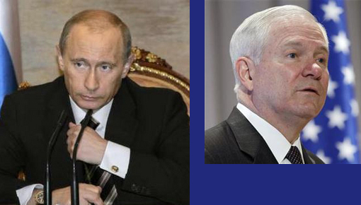 Left: Russia's President Vladimir Putin. Right: Defense Secretary Robert Gates said Libyans needed to determine leader Muammar Gaddafi's fate for themselves.