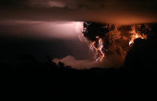 Carlos F Gutierrez won first prize of the Nature Singles category of the 2008 World Press Photo of the Year contest with this photo of Chaiten volcano eruption, Chile