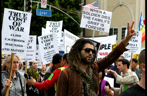 Hundreds marched in California in protest of US presence in Iraq.