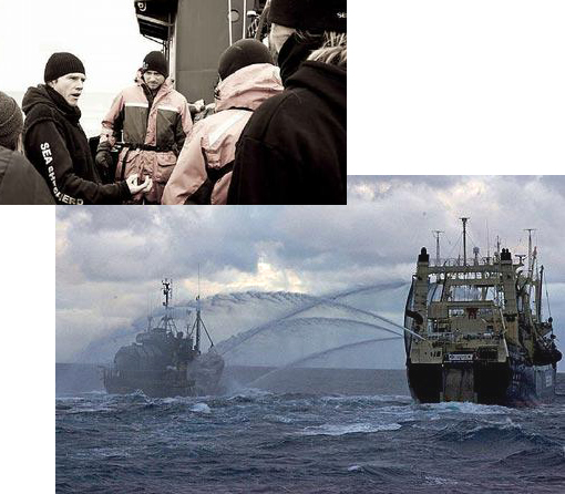 Upper left: Steve Irwin sailing master Mal Holland, from Yaroomba, explains the new action plan to the crew at Antarctica. Lower right: a Sea Shepherd vessel (left) has a water exchange with a Japanese whaling ship.