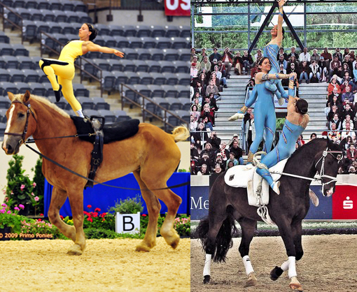 left: Kentucky cup vaulting; right: vaulting competition from 2006 World Equestrian Games in Germany