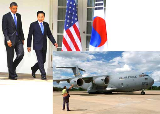 Top L: US President Barack Obama and South Korea's President Lee Myung-bak; Bottom R: U.S. Air Force C-17A Globemaster III