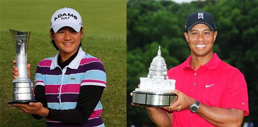 Left: Yani Tseng; Right: Tiger Woods