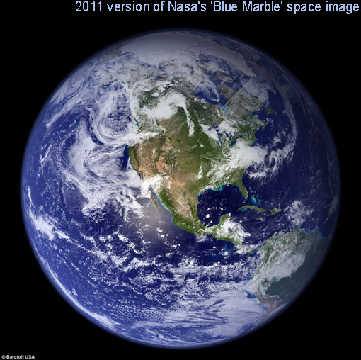2011's Blue Marble: mesmerizing view of Earth is a montage of images taken by the Terra satellite orbiting 435miles above the planet's surface