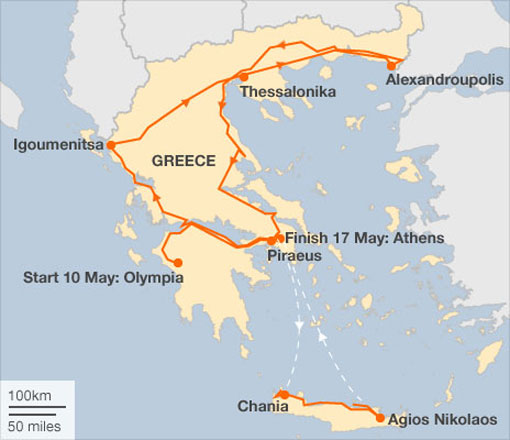 The Greek relay starts in Olympia and finishes in Athens, taking in Crete