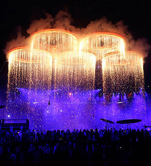 Olympic rings light up in London 2012 during Opening Ceremony