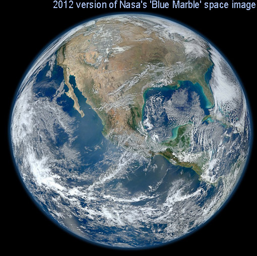 2012 version of Nasa's 'Blue Marble' space images: most high-resolution image of Earth ever, composite image taken by the new Suomi satellite on January 4