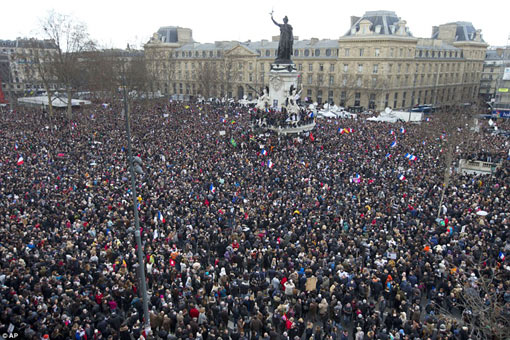 ~3.7million people marched across France, the majority gathering in Paris to pay tribute to those killed in a swathe of attacks