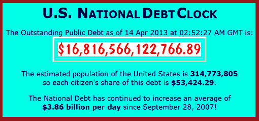 US Outstanding Public Debt is over $16.8 trillion as of April 14, 2013