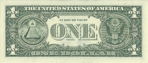 United States dollar bill with 'In God We Trust' in the back