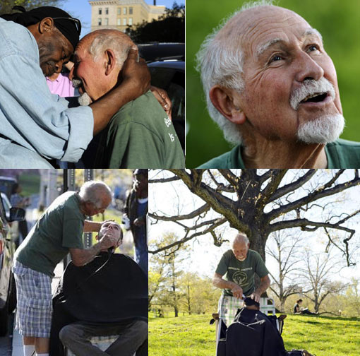 for more than 20 years, Anthony Cymerys, 82, known as Joe the Barber, cut hair alfresco in Hartford for the fee of a hug