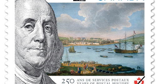 stamp marking the 250th anniversary of Canada Post featuring a portrait of Franklin