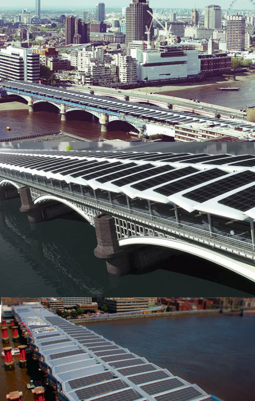world's largest solar-powered bridge at Blackfriars Bridge across the River Thames