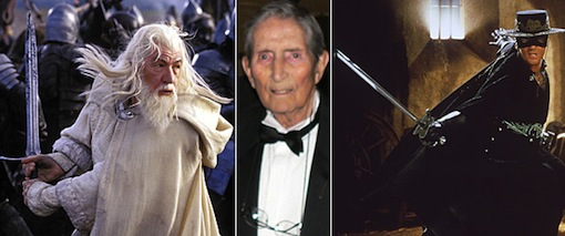 Bob Anderson, center, carved out a more-than-50-year career as a fencing trainer to the stars and a movie sword-fight choreographer. Left: Sir Ian McKellen as Gandalf in 'The Lord of the Rings: The Return of the King'; right: Antonio Banderas in 'The Mask of Zorro.'