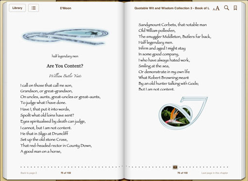 Book of L sample page: poem by William Yeats