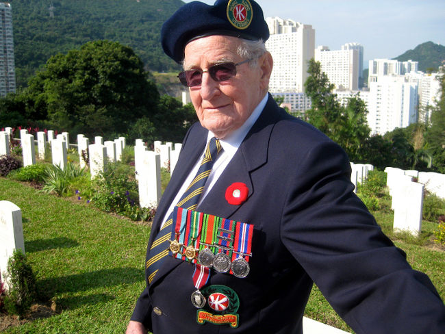 Ken Pifher, 91, marks Remembrance Day on November 11, 2012 at Sai Wan Cemetery in Hong Kong, the final resting place of nearly 300 Canadians killed defending the former British colony from Japanese invaders in 1941