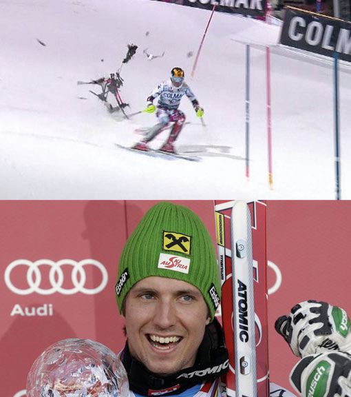 Marcel Hirscher's harrowing near-miss in snow