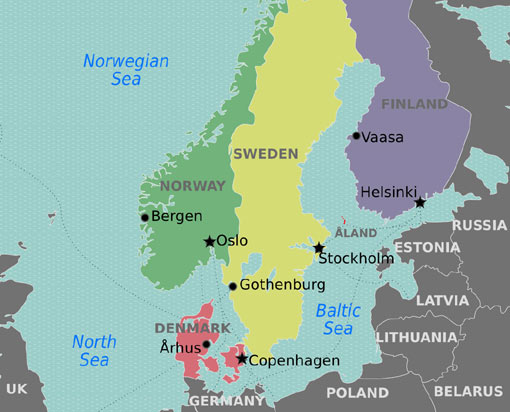 regional map of Europe: Denmark, Sweden, Finland, Norway