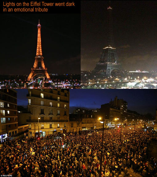 as thousands gathered to mourn the 12 people killed in the Charlie Hebdo attack, lights on the Eiffel Tower went dark in an emotional tribute