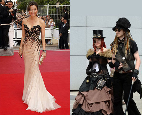 Left: visitors of a Wave-Gothic meeting arriving in Leipzig, Germany; Right: martial artist Michelle Yeoh stunning at 2009 premiere of Vengeance