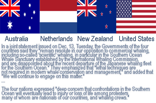 Australia, the Netherlands, New Zealand, and the United States have jointly condemned Japanese annual 'scientific' whaling
