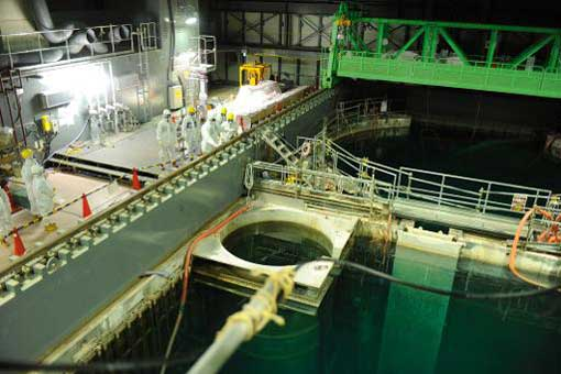 the spent fuel pool at the unit four reactor building of the crippled Fukushima Dai-ichi nuclear plant